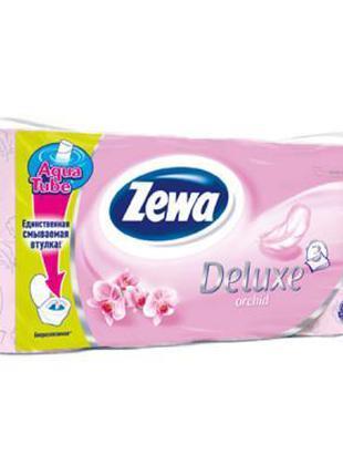 Туалетная бумага Zewa Deluxe 3-слойная Орхидея Розовая 8 шт (7...