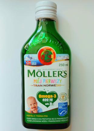 Омега 3 Mollers норвежська 250 мл від 4 тижня життя для немовлят