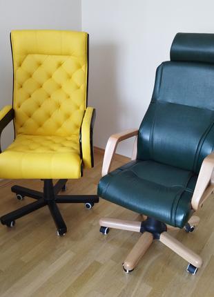 Нове шкіряне крісло garne kriselechko, каретная стяжка, честер