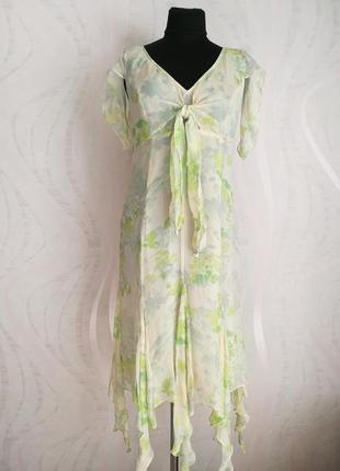 Нежное шелковое платье миди,натуральный шелк