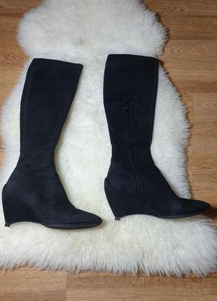 Замшевые сапоги чулки с интересными каблуками  jil sander