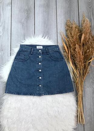 🔥акция 3=5🔥topshop юбка джинсовая синяя мини спереди на пугови...