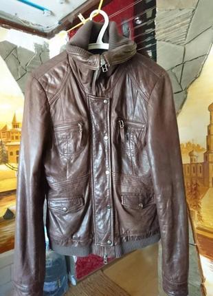 Женская кожаная утепленная куртка кожанка косуха р-р l цвет шо...