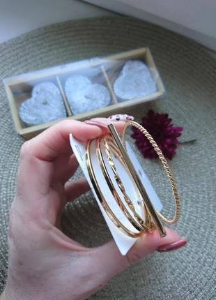 Набор браслетов кольца 5 шт h&m золото серебро браслет модная ...