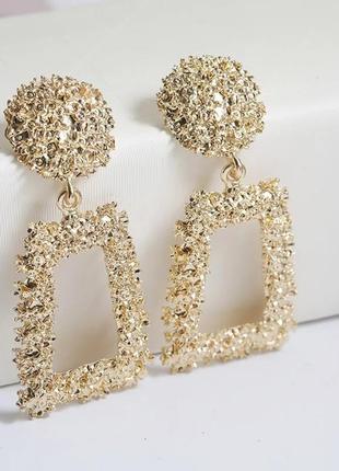 Большие геометрические тренд серьги золото бижутерия в стиле zara