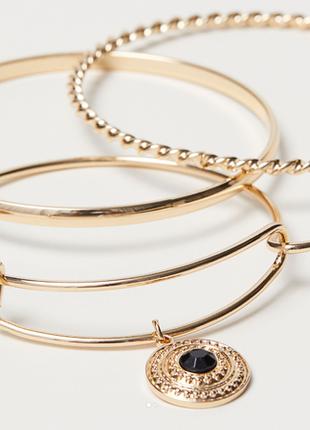 Набор браслетов кольца 3 шт h&m с подвесками золото браслет мо...