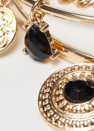 Набор браслетов кольца 3 шт с подвесами золото браслет модная ...