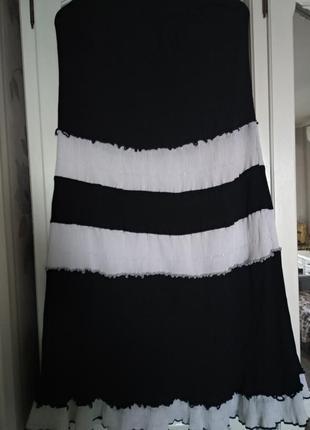 Юбка черно-белая длинная в пол на резинке