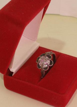 Серебряное кольцо с фианитом , винтаж