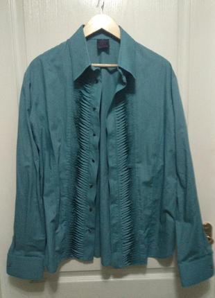 Мужская рубашка дизайнерская изумрудного цвета