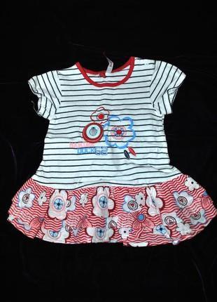 Платье летнее модное на девочку новорожденную 62-68 см на фото...