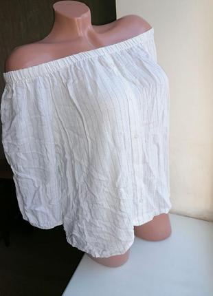 Блузка новая сток со спущенными плечами на резинке белая в пол...