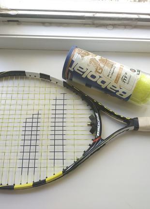 Теннисная ракетка детская 5-7 лет Babolat NADAL JR 23 + антивибра