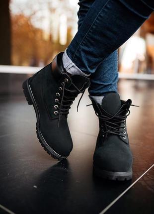 Мужские чёрные ботинки тимберленд🍁timberland black термо🍁осенн...