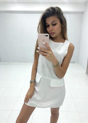 Платье мини, белое и розовое, с карманами 42-44