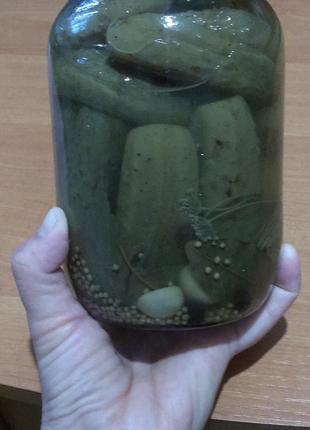 Остатки!Огурцы консервированные домашние 1 л.