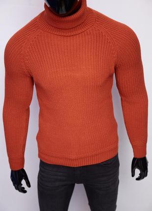 Свитер мужской теплый с высоким горлом figo 6570