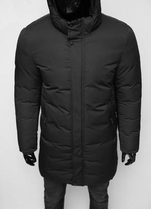 Куртка мужская удлиненная зимняя chs soft shell 19016 черная