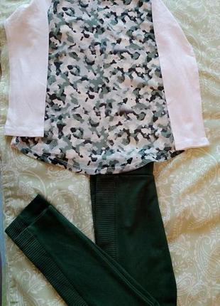 Набор костюм комплект лосины леггинсы туника лонгслив зеленый ...