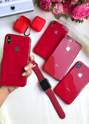 Силиконовый чехол silicone glass case red для iphone
