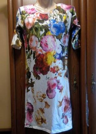 Трикотажное платье с цветами цветочное облегающее белое короткое