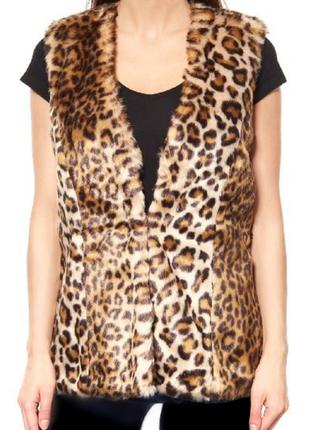 Меховая жилетка леопардовый принт ,германия бренд melrose
