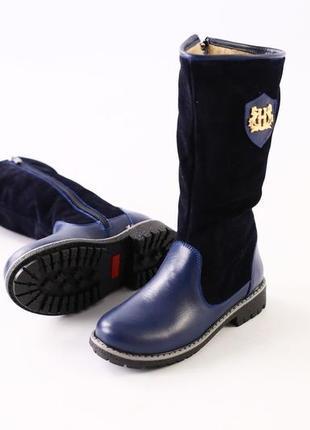 Lux обувь! натуральные зимние кожаные тёплые сапоги для девочки