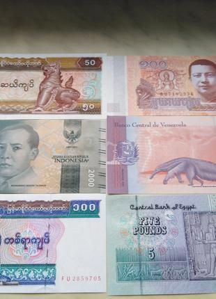 Банкноты 6 шт. 1 лотом в UNC
