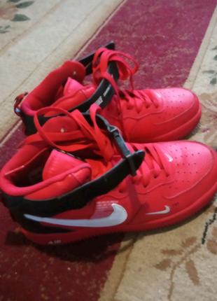 Кроссовки высокие Nike Air Force 1 Red(найк аир форс красные)