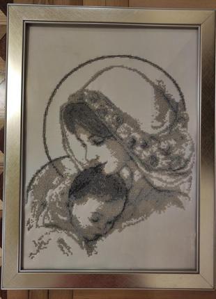 Ікона матір божа з немовлям (сіра)