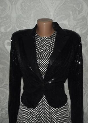 Феерический праздничный/ выпускной пиджак жакет черный в паетк...