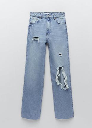 Трендовые высокие широкие джинсы с дырками zara р. 36