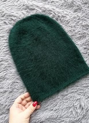 Ангоровая изумрудная шапка бини