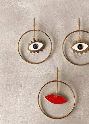 Трендовые серьги кольца глаза-губы/синий/красный/эмаль/стильно...
