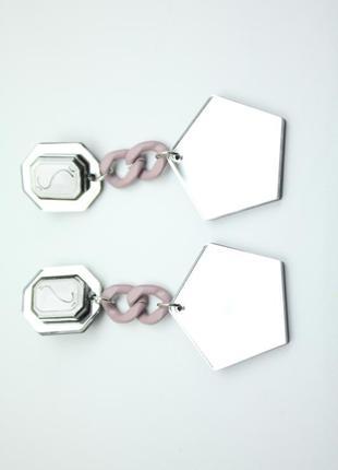 Серьги подвески с цепочкой с зеркаом