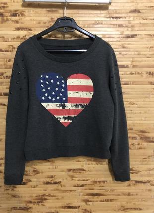 Джемпер пуловер свитер h&m темно-серого цвета с рисунком