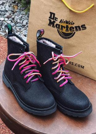 😍dr martens black fur😍женские ботинки мартинс с мехом, зима чё...
