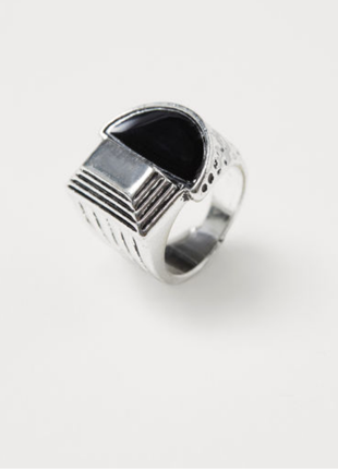 Мужское кольцо перстень печатка металлический серебро черный  h&m