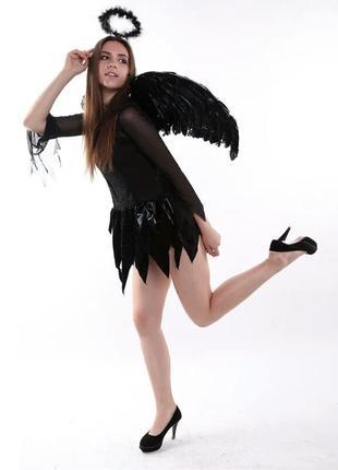 Черные крылья из натуральных перьев с палочкой и нимбом на хел...