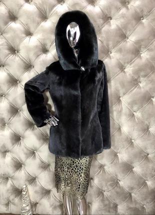 Норковая шуба с капюшоном giovanni, blackglama, 70 см, 42-44