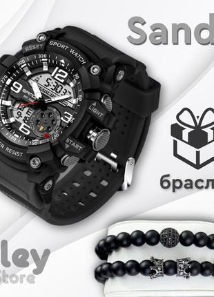 Мужские спортивные наручные часы Sanda 759 Black-Silver .Мужск...