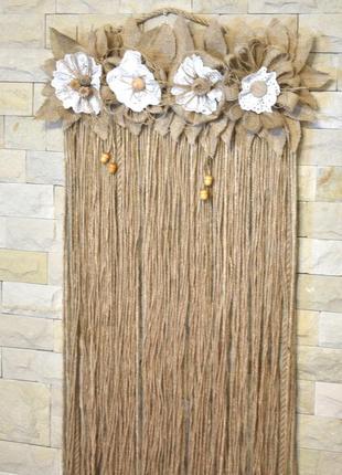 Декоративное панно на стену из джута и мешковины