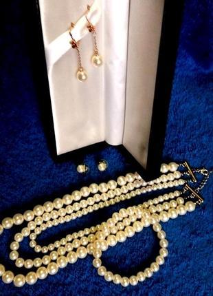 Набор жемчужный ожерелье браслет 2 пары серег