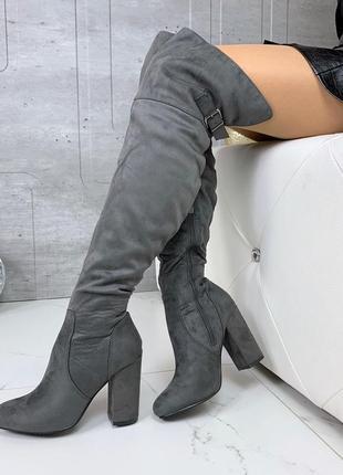 Замшевые  сапоги ботфорты на каблуке,высокие сапоги ботфорты с...