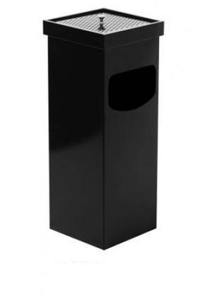 0290-В Урна-пепельница,квадратная,металл окрашенный 35 л, черная