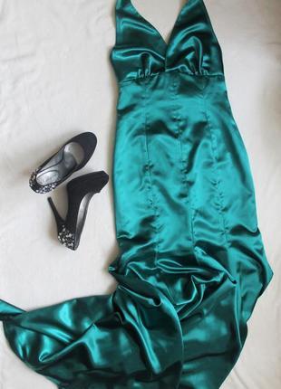 Вечернее платье изумрудно-зеленого цвета со шлейфом, размер m