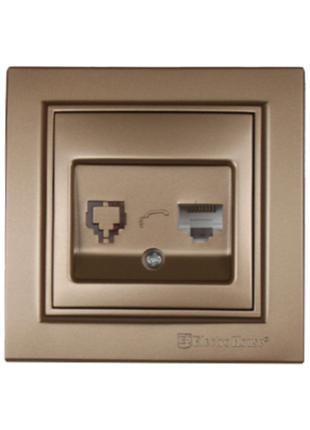Розетка комп'ютерна 1х8P8C Enzo Розкішно-золотий