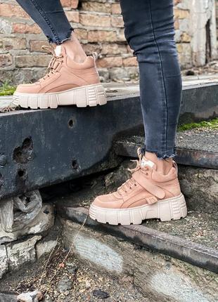 Женские зимние кожаные кроссовки/ ботинки на платформе ms snea...