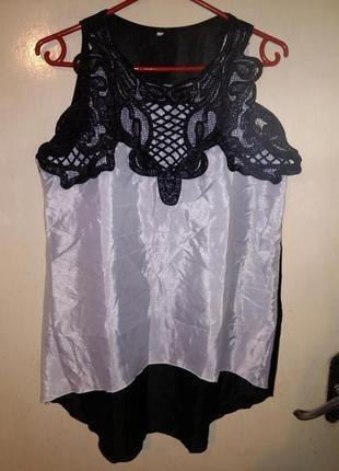 Нарядная,чудесная блуза-туника,с удлиненной спинкой и кружевом...