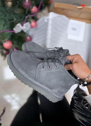 Ugg neumel dark grey! женские замшевые зимние угги/ сапоги/ бо...